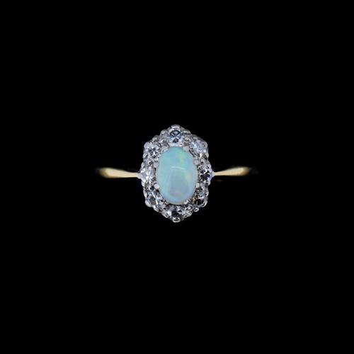Antique Natural Opal & Diamond Oval Halo Cluster 18ct 18k Yellow Gold Ring (1 of 10)