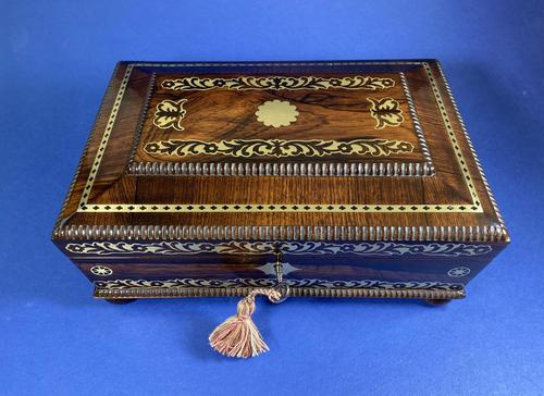 Regency Rosewood Table Box with Brass Foliate Inlay (1 of 12)