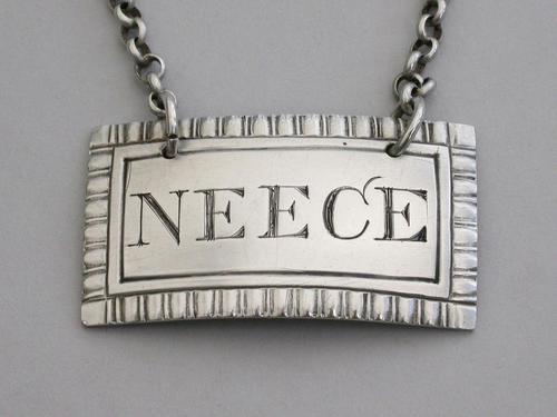 Rare George IV Provincial Silver Wine Label 'Neece' (1 of 8)