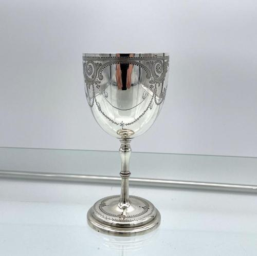 Antique Victorian Sterling Silver Wine Goblet London 1863 Henry Holland (1 of 8)