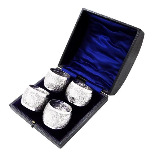Set of 4 Antique Victorian Sterling Silver Napkin Rings in Case 1898 (1 of 11)