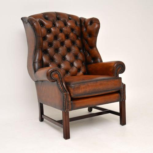 Antique Georgian  Style Leather Wing Back Armchair (1 of 9)