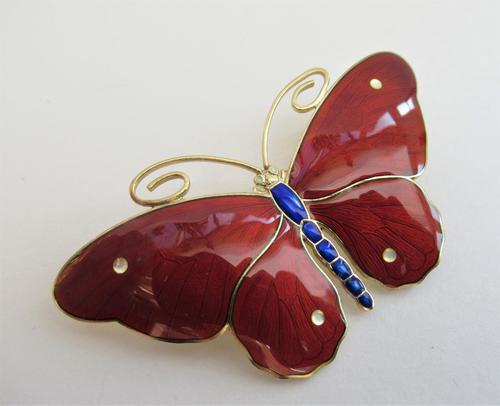 Marius Hammer Silver Gilt & Enamel Butterfly Brooch c.1920 (1 of 10)