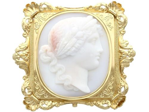 Carved Hardstone & 18ct Yellow Gold Cameo Brooch - Antique c.1860 (1 of 9)