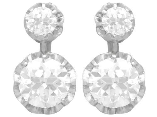 2.64ct Diamond & 18ct Yellow Gold Drop Earrings - Antique c.1920 (1 of 9)