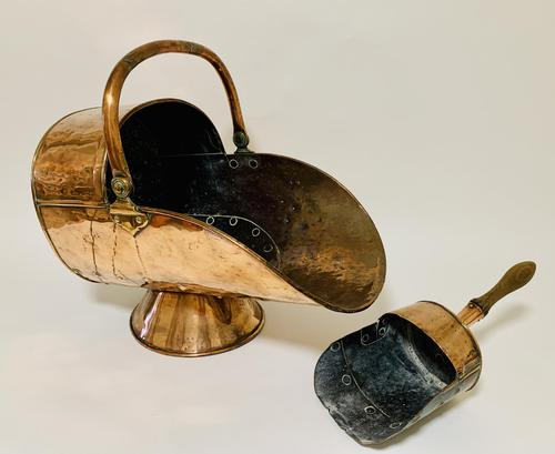 Antique Copper Coal Scuttle and Shovel (1 of 13)