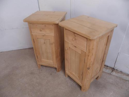 Rounded Edged Pair of Antique Pine Victorian Bedside Cabinets to wax / paint (1 of 7)