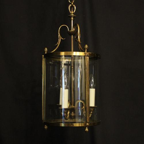 French Convex Gilded Triple Light Antique Lantern (1 of 10)
