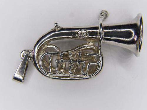 Solid Silver Tuba Pendant (1 of 3)