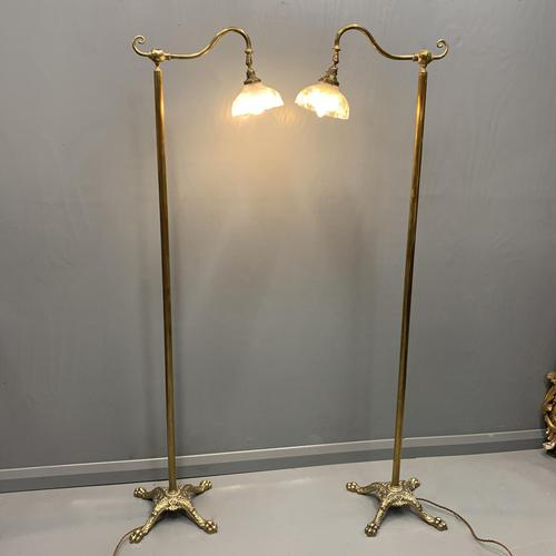 Pair of Adjustable Brass Standard Lamps (1 of 7)
