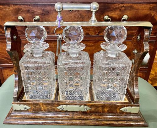 Polished Dark Honey-Oak Cased Three-Bottle Tantalus (1 of 5)