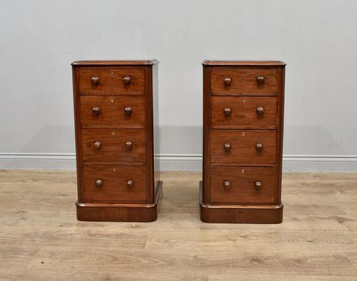 Pair of Victorian mahogany bedside chests of drawers (1 of 4)
