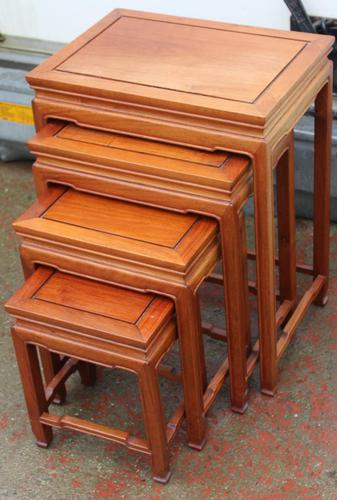 Mahogany Nest of 4 Tables 1940's (1 of 6)