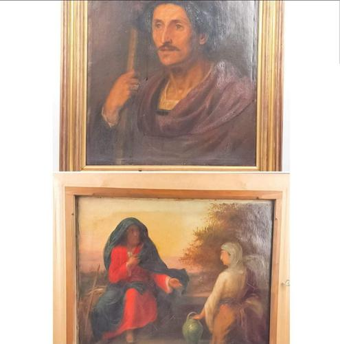 19th Century Oil on Canvas Double Sided Shepard. Jesus & Mary Magdalene (1 of 13)