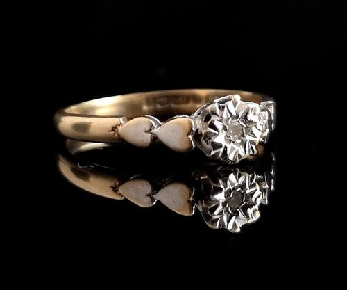 Vintage Diamond Solitaire Ring, Hearts, 9ct Gold (1 of 10)