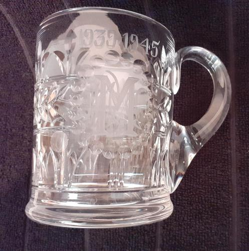 """Crystal Glass Tankard with etching """"1939-1945"""" (1 of 2)"""