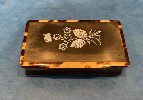 Victorian Horn & Tortoiseshell Snuff Box with Silver Inlay (1 of 16)