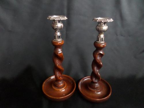 Lovely Pair of Oak Twisted Candlesticks / Metal Sconces (1 of 7)