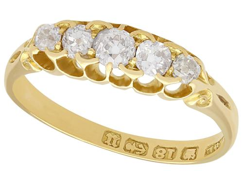 0.66ct Diamond & 18ct Yellow Gold Five Stone Ring - Antique Victorian (1 of 9)