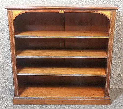 Edwardian Inlaid Mahogany Open Bookcase (1 of 10)