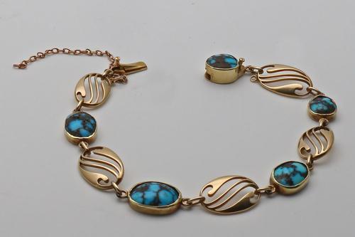 Murrle Bennett Turquoise 15ct Gold Bracelet (1 of 2)