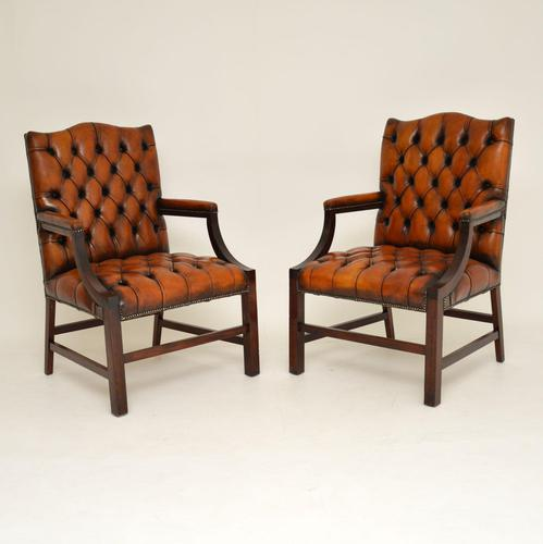 Pair of Antique Leather & Mahogany Gainsborough Armchairs (1 of 8)