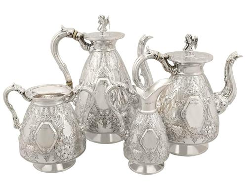 Sterling Silver Four Piece Tea and Coffee Service - Antique George V (1911) (1 of 21)