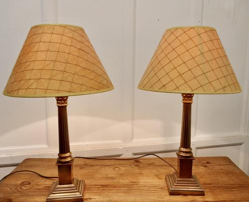 A Pair of Brass Corinthian Column Table Lamps with Shades (1 of 8)