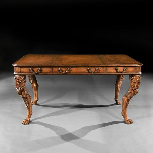 Unusual Mid 20th Century Spanish Cast Iron & Leather Clad Writing Table (1 of 5)