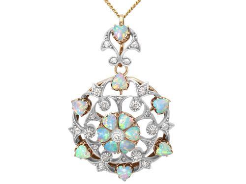 2.38ct Opal & 0.72ct Diamond, 12ct Yellow Gold Pendant / Brooch - Antique c.1880 (1 of 12)