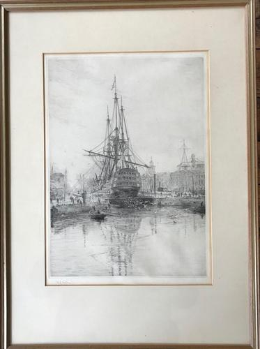 'HMS Victory in Dry Dock' Etching by W.L.Wyllie RA c.1920 (1 of 2)