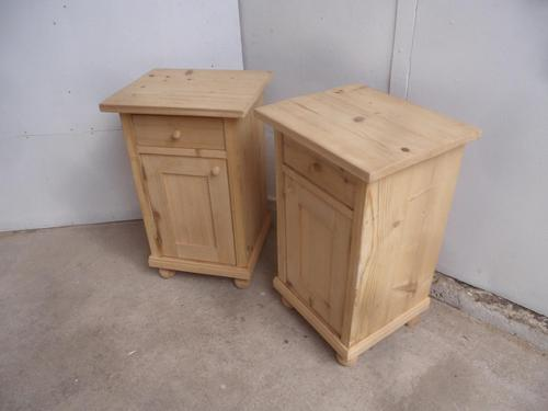 Lovely Pair of Plain Small Antique Pine Bedside Cabinets to wax / paint (1 of 7)