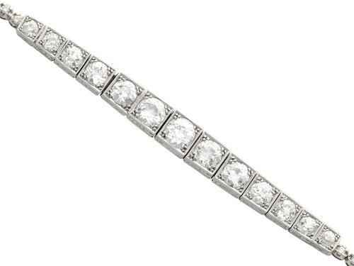5.13ct Diamond, 14ct & 9ct White Gold Bracelet - Antique c.1910 (1 of 12)