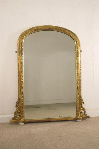 Victorian Gilt Arch Top Overmantle Mirror (1 of 6)
