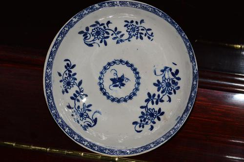 18th Century Liverpool Blue and White Porcelain Saucer (1 of 7)