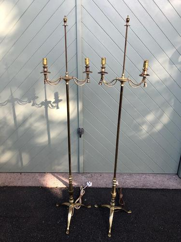 Pair of Antique Brass Floor Lamps (1 of 8)