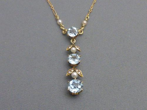 9ct Gold, Blue Zircon & Pearl Necklace (1 of 7)