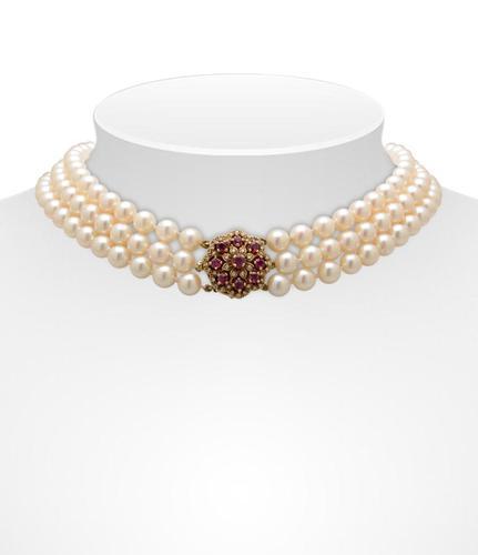 Three Strand Akoya Pearl Necklace (1 of 6)