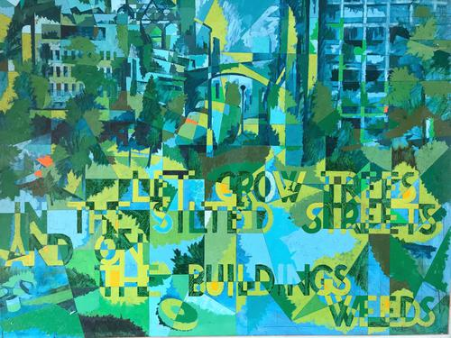 Original Oil on Board 'Let Grow Trees in the Silted Streets and on the Buildings Weeds' by Ken Walch 1928-2017. Signed & Dated 1969 (1 of 2)