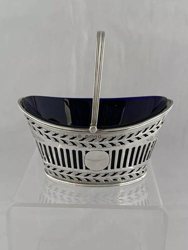 Small Victorian Antique Silver Sweet Basket & Liner 1886 Sheffield Sterling (1 of 11)