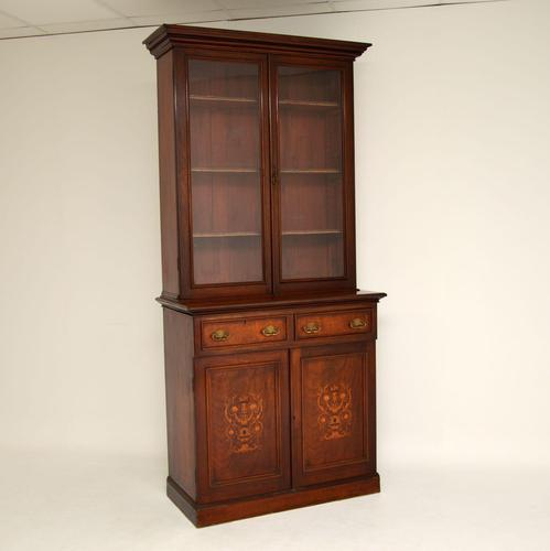 Antique Victorian Inlaid Mahogany 2 Section Bookcase (1 of 11)