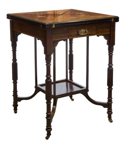 A Late Victorian Inlaid Rosewood Envelope Card Table (1 of 9)