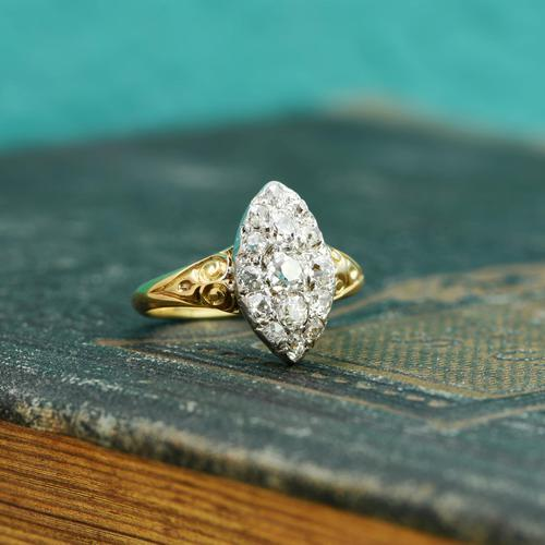 The Antique Late Victorian Marquise Fifteen Diamond Ring (1 of 5)