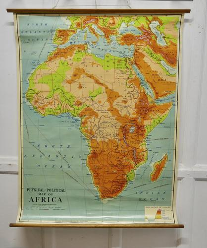 """Large University Chart """"Africa Physical Political""""  by Bacon (1 of 8)"""