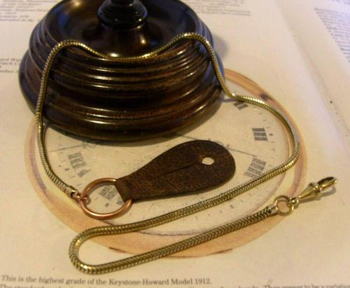 Antique Pocket Watch Chain 1900s Brass & Copper Snake Link Albert With Button Hole Fob (1 of 11)