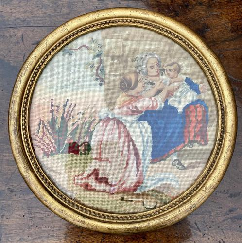 Pair of circular needlepoint pictures in original gilt frames (1 of 4)