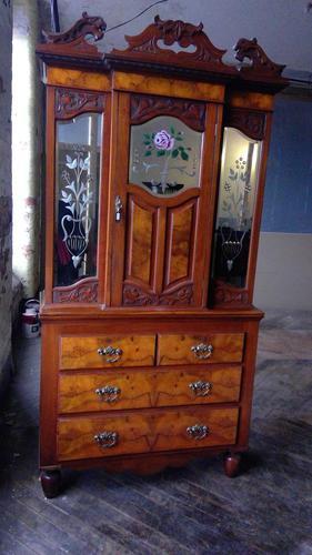 Unusual Walnut Mirrored Bookcase Cabinet Chest Combination (1 of 3)