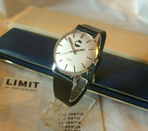 Vintage Swiss Wristwatch 1970s Gentlemans 17 Jewel Limit With Castrol Logo Dial Fwo (1 of 12)