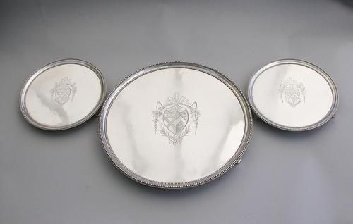 Suite of George III Silver Bead Edge Salvers by John Crouch I & Thomas Hannam, London, 1781 (1 of 14)