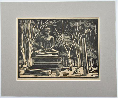Mary Dudley Short (Molly Freeman), linocut print, Seated Buddha, 4/25, c1935 (1 of 6)